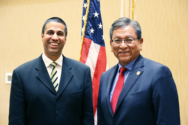 President Russell Begaye and FCC Chairman Ajit Pai. Submitted photo