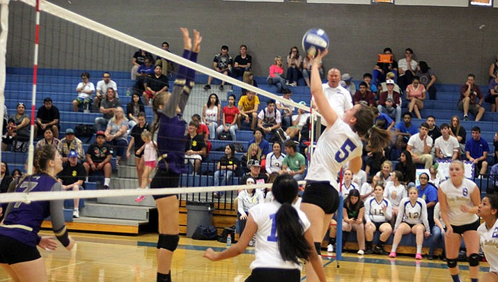 Kingman's Courtney Mossor, (5), finished with a team-high 18 kills in the Lady Bulldogs' 3-0 loss to Lake Havasu Wednesday night.
