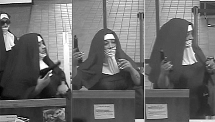 Police say two women dressed as nuns walked into a Pennsylvania bank on Monday and one brandished a handgun, demanding money from a teller. But they left without taking anything.