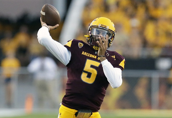 Arizona State Manny Wilkins warms up before the team's game against New Mexico State on Thursday, Aug. 31, 2017, in Tempe. (Rick Scuteri/AP)