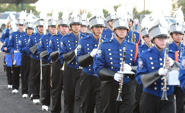 Chino Valley's band takes the field before the Cougars take on Sedona Red Rock Scorpions in Chino Valley. (Les Stukenberg/Courier, file photo)