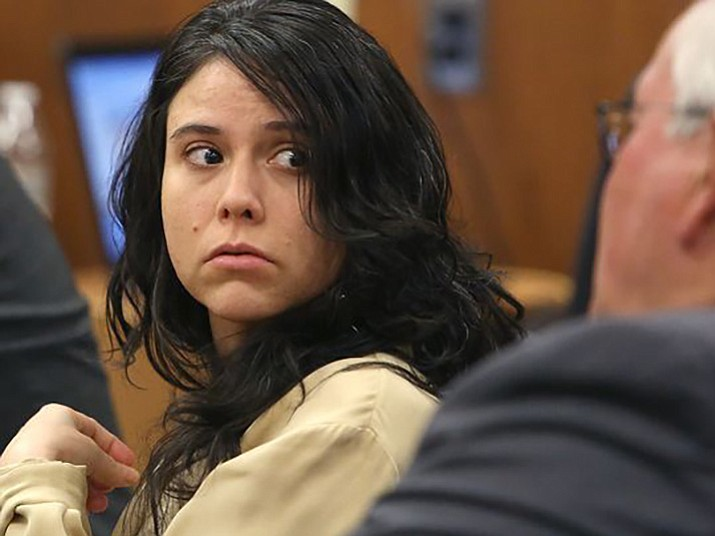 In this Nov. 13, 2015, file photo, Sophia Richter looks behind her in the galley as she is seated in the courtroom at Pima County Superior Court in Tucson, Ariz. (Mamta Popat/Arizona Daily Star via AP, File)