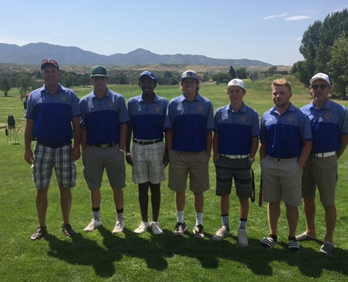 Prescott's golf team won the two-day Bradshaw Mountain Invitational tournament Saturday at Prescott Golf & Country Club near Dewey. From left, coach Tony Dalton, Brance Christopherson, Beniam Osterloh, Joey Christopherson, Payton Peterson, Dillon Osborn and assistant coach Brek Peterson. (Tony Dalton/Courtesy)