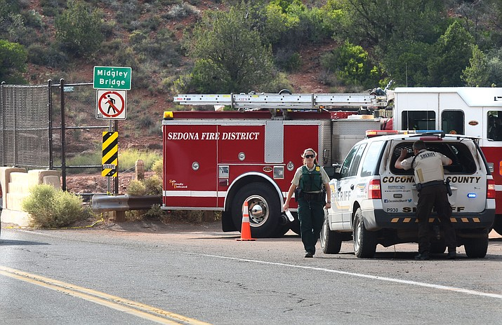 Emergency crews from Sedona Police, Sedona Fire, Coconino County Sheriff's Office and Coconino County National Forest responded to an incident at Midgley Bridge around 2 p.m. Saturday. (VNN/Vyto Starinskas)