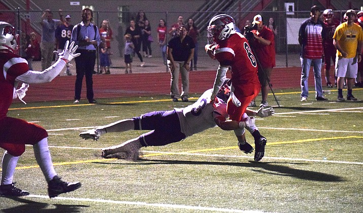 Mingus junior quarterback Antoine Zabala runs towards the end zone on the Marauders' final play in their 21-20 loss to Cactus Shadows on Friday night. Zabala fumbled at the one yard line. (VVN/James Kelley)