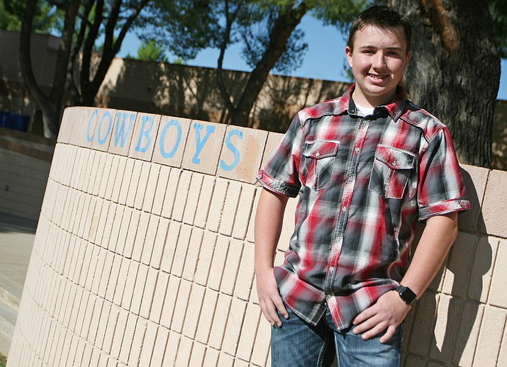 Fourteen-year-old Camp Verde High School junior Keegan Rhoda has been named to the National Society of High School Scholars. (Photo by Bill Helm)