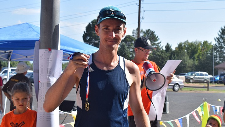 Runners in the 19th annual 10k to benefit Chino Valley High School's cross country team competed Sept. 2 near Memory Park in Chino Valley. Greg Reverdiau, pictured, was this year's winner of the 10k Men's division. (Jenda Ballard/Courtesy)