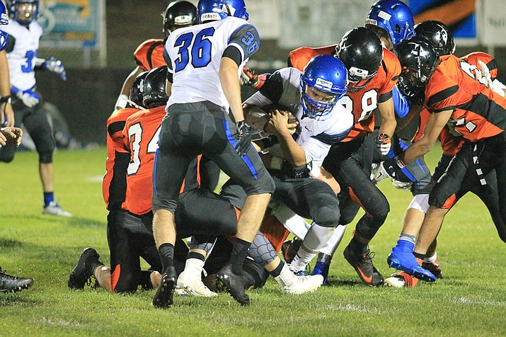 Bagdad won in dramatic fashion on Friday night, Sept. 1, 2017 as the defending state champion Sultans came from behind with 2.6 seconds left in regulation to defeat defending state runner-up Williams, 28-24, on the road. (Photo by Wendy Howell/Williams-Grand Canyon News)
