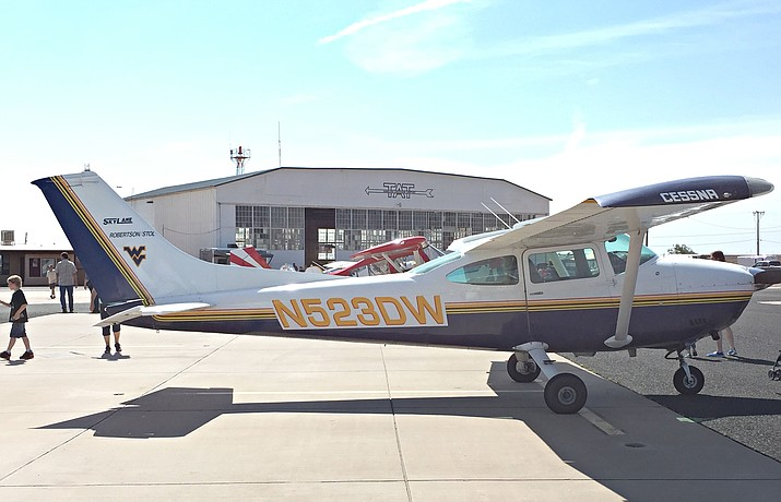A plane outside the Winslow-Lindbergh Regional Airport's historic hangar during the 2016 Fly-In. Submitted photo