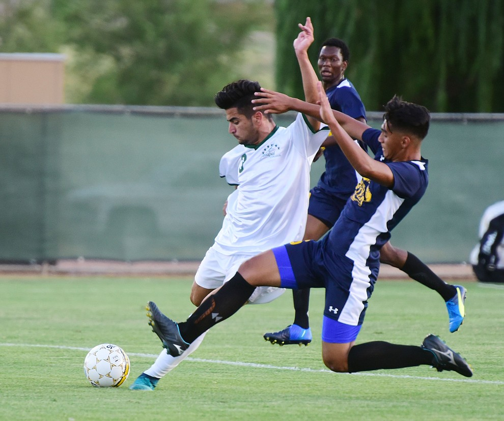 Yavapai's Ziyad Fares takes a shot on goal as the Roughriders take on the Phoenix College Bears Tuesday night at Mountain Valley Park in Prescott Valley. (Les Stukenberg/Courier).