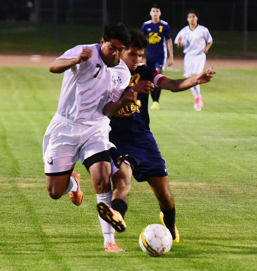 Yavapai's Alexander Guadron brings the ball upfield as the Roughriders take on the Phoenix College Bears Tuesday night at Mountain Valley Park in Prescott Valley. (Les Stukenberg/Courier).