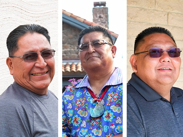 From left: candidates running for vice chairman of the Hopi Tribe Arthur Batala, Clark Tenakhonga and Lamar Keevama.