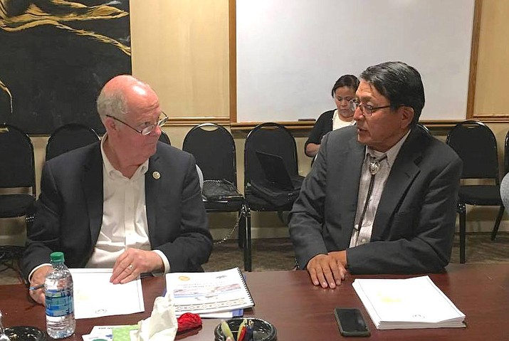Tom O'Halleran and Council Delegate Walter Phelps talk together during O'Halleran's visit to the Western Navajo Agency. Submitted photo