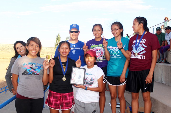 Ganado girls claimed the first place team trophy in the girls cross country race. Stan Bindell/NHO