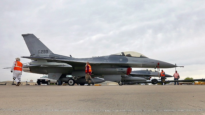 File photo of an F-16 Fighting Falcon aircraft after its arrival at the 309th Aerospace Maintenance and Regeneration Group at Davis-Monthan Air Force Base in Tucson, Ariz. (AP Photo/Matt York, File)
