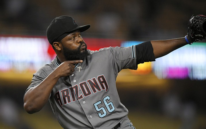 Arizona Diamondbacks relief pitcher Fernando Rodney gestures after the Diamondbacks defeated the Los Angeles Dodgers 3-1 Tuesday, Sept. 5, 2017, in Los Angeles. (Mark J. Terrill/AP)