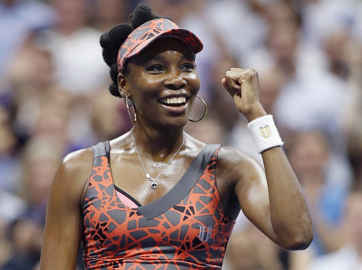 Venus Williams of the United States celebrates after defeating Petra Kvitova of the Czech Republic 6-3, 3-6, 7-6 (2) in a quarterfinal at the U.S. Open on Tuesday, Sept. 5, 2017, in New York. (Kathy Willens/AP)