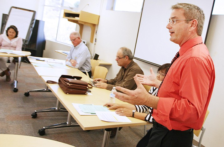 Coming from last year's Verde Valley Forum were two discussions geared toward post-secondary education. Pictured last year, Steve King is president of the Verde Valley Forum for Public Affairs. (Photo by Bill Helm)
