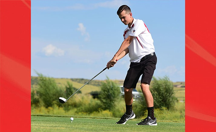 Mingus Union's Landin Jones hits his tee shot as they played the Kingman and Prescott High Schools at Antelope Hills Golf Course in Prescott Tuesday, September 5.  (Les Stukenberg/Courier)