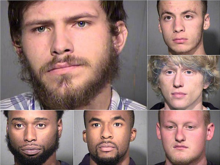 Clockwise from top left: Stephen Paul Shuker, Kenne Hoag, Colin Alseth, Cody Tobler, Kaleb Drake and Rashaan Drake were arrested on burglary and other charges by the Maricopa County Sheriff's Department. (Maricopa County Sheriff/Courtesy of ABC15)