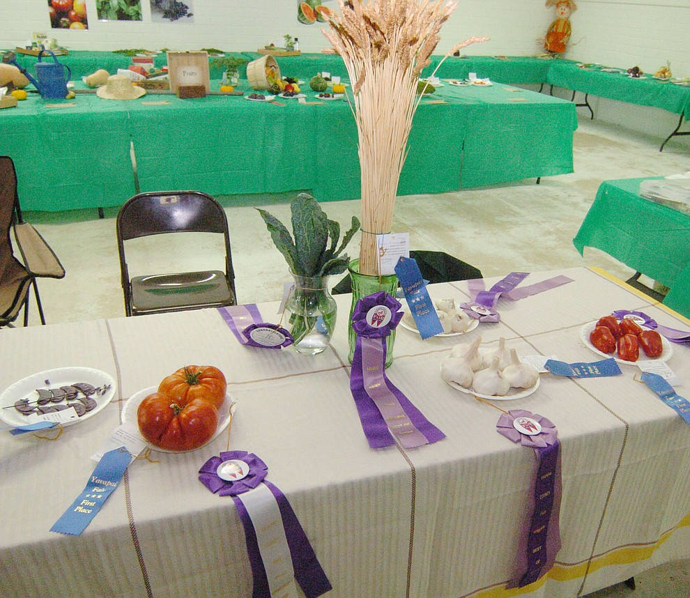 Some of the winning entries in the Agriculture/Horticulture contest at the 2017 Yavapai County Fair at the Prescott Rodeo Grounds Wednesday, September 7 in Prescott . (Les Stukenberg/Courier).
