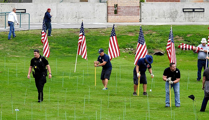 Volunteers showed up at 6 a.m. Friday, Sept. 8, to place 3,019 flags at the Healing Field of Northern Arizona on the Prescott Valley Civic Center grounds, 7501 E. Civic Circle. (Heidi Dahms-Foster/Courtesy)
