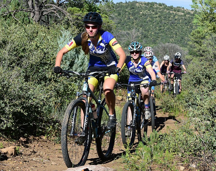 McKenzie Roberts leads a group up the 62 trail during a Prescott mountain bike team practice Tuesday, Aug. 15, 2017. (Les Stukenberg/Courier)