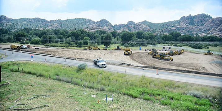 Work is progressing on the Highway 89 widening and roundabout at the Phippen Museum Thursday, Sept. 7, in Prescott. (Les Stukenberg/Courier)