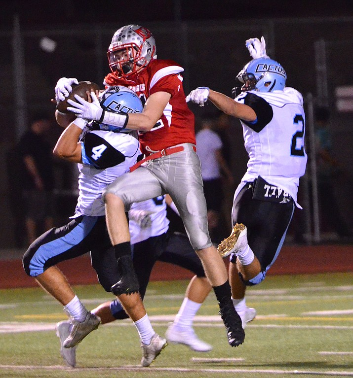 Glendale Cactus beat Mingus Union 42-25 on Friday night. The Marauders record dropped to 0-3 and 0-2 on the road. (VVN/Vyto Starinskas)