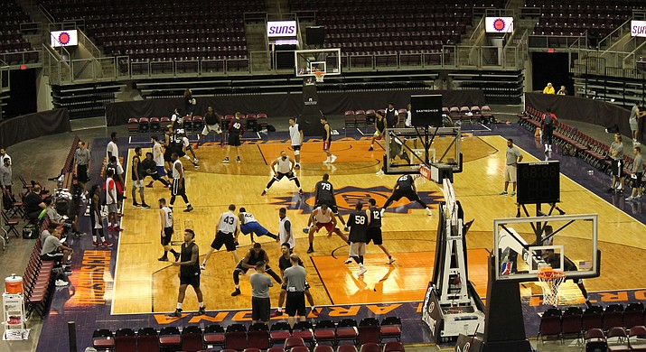 A view from the second deck at the Prescott Valley Event Center during the Northern Arizona Suns' first local tryout of the 2017-2018 season Saturday, Sept. 9, 2017, in Prescott Valley. (NAZ Suns/Courtesy)
