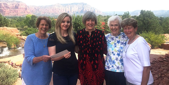 From left, Elaine Gunderson of Sedona, president of Chapter DO, presents a $2,600 check to Candace Budd; Nancy Oelklaus and Gertrude Mayne of Sedona, who serve on the grant committee; and Claudia Patterson, member of P.E.O. Chapter FX in Durango, Colorado.
