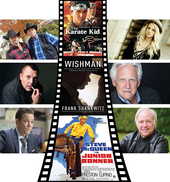"""Wish Man"" is not the first movie to be filmed in Prescott, entirely or in part. Notable films included The Karate Kid (center, top from 1984) and Junior Bonner (center, bottom in 1972). Cast members here for ""Wish Man"" include, clockwise from top left, Andrew Steele (as Frank Shankwitz), with the real Frank Shankwitz, founder of the Make-A-Wish Foundation; Kirby Bliss Blanton, Bruce Davison, Robert Pine, Frank Whaley and Tom Sizemore. ('Wish Man' photos)"