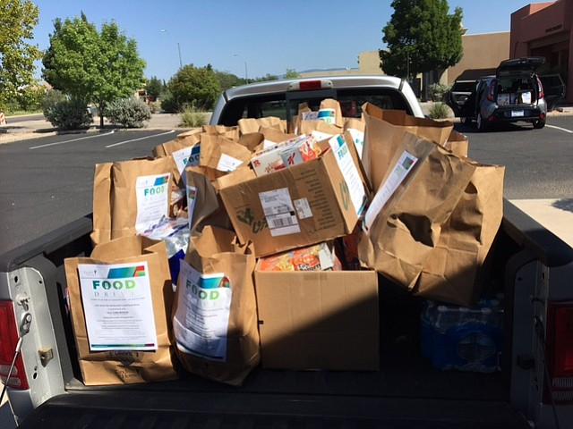 A truck full of food from the 13th annual Kindred Hospice Food Drive is ready for distribution. (Kindred Hospice/Courtesy)