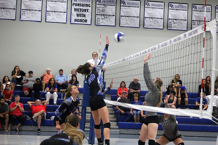 Kingman Academy's Grace Herbine (16) tallied five kills in a 3-2 win over Mohave.