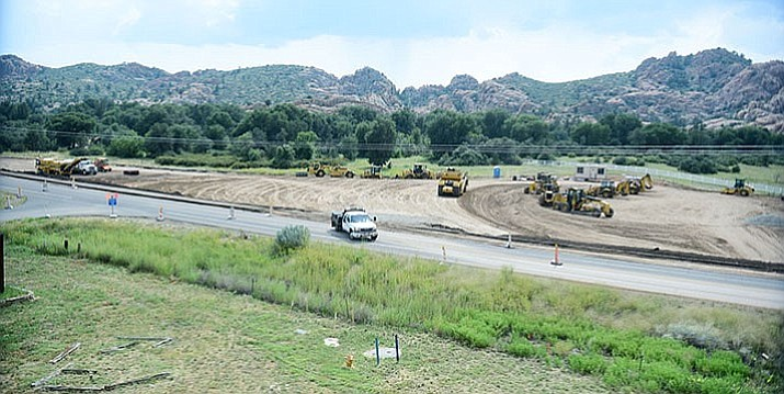 Work is progressing on the Highway 89 widening and roundabout at the Phippen Museum Thursday, Sept. 7, in Prescott.