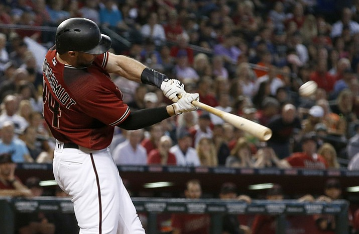 Arizona Diamondbacks' Paul Goldschmidt connects for a home run against the San Diego Padres during the fourth inning Sunday, Sept. 10, 2017, in Phoenix. (Ross D. Franklin/AP)