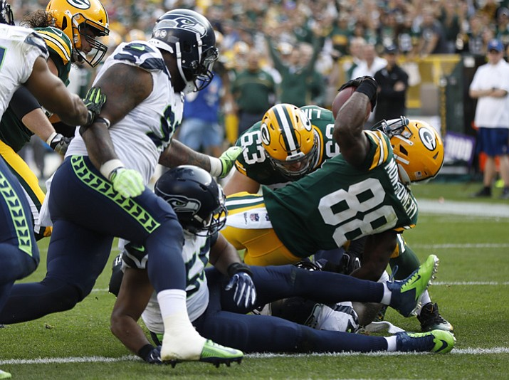 Green Bay Packers' Ty Montgomery runs for a touchdown during the second half against the Seattle Seahawks on Sunday, Sept. 10, 2017, in Green Bay, Wis. (Mike Roemer/AP)