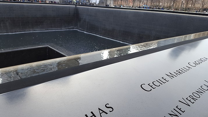Names of those who died are cut into the National September 11 Memorial & Museum located at the site of the World Trade Center, 180 Greenwich St., in New York.