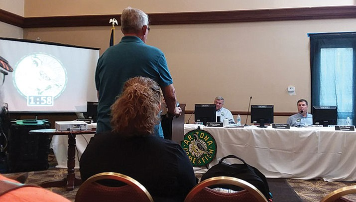 Outdoor Writer Don Martin addressed the Arizona Game & Fish Commission at a meeting on Friday in Williams. Martin asked the Commissioners to not approve a Department request to eliminate a December youth muzzleloader hunt in Unit 16A, Hualapai Mountains. Despite the plea, the motion passed on a 3-1 vote.