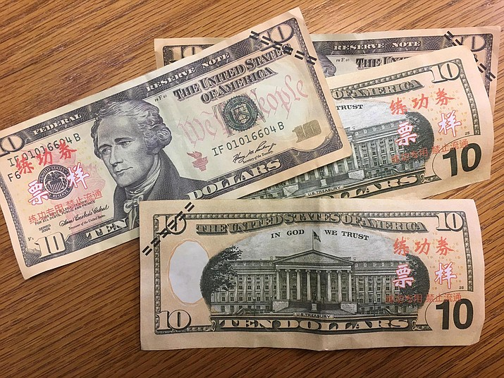Several counterfeit $10 bills were discovered at a downtown Kingman business. Such counterfeit bills are reportedly used to train bank tellers in China on how to handle foreign currency.