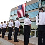 American Legion Post 6 Color Guard as the flag is lowered fro the roof of the Civic Center during the Prescott Valley 2017 9/11 Patriot Day Ceremony at the Civic Center in Prescott Valley. (Les Stukenberg/Courier).