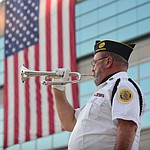 American Legion Post 135 bugler Brad Moors plays Taps during the Prescott Valley 2017 9/11 Patriot Day Ceremony at the Civic Center in Prescott Valley. (Les Stukenberg/Courier).