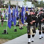 The Central Arizona Fire & Medical bagpipes and drum line closes the Prescott Valley 2017 9/11 Patriot Day Ceremony at the Civic Center in Prescott Valley. (Les Stukenberg/Courier).