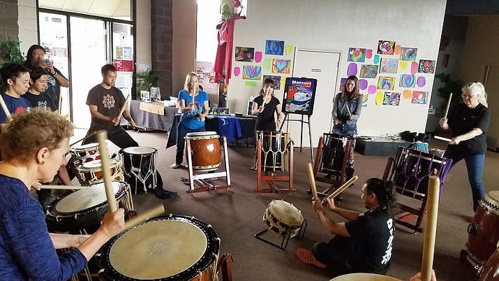 """The Sedona Hub's series of Taiko Saturday afternoon workshops (1-3) focuses on thebasics of playing Taiko under thetheme of 'finding your ownrhythm"""" allowing students to begin wherever they are and grow from there. Photo courtesy of KenKoshio"""