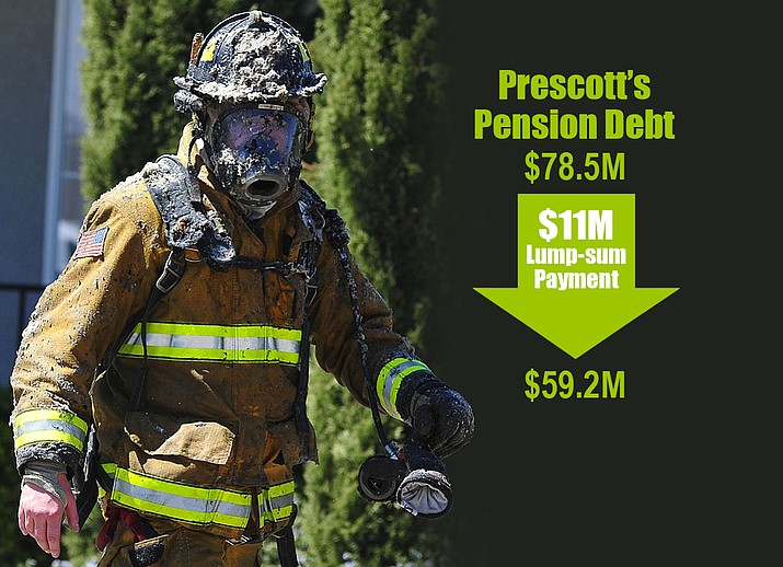 A majority of the council members — in an effort to show the Prescott community that they are serious about paying down the city's Public Safety Personnel Retirement System (PSPRS) debt as soon as possible — opted on Tuesday, Sept. 12, for making an $11 million lump-sum payment toward the $78.5 million unfunded liability.