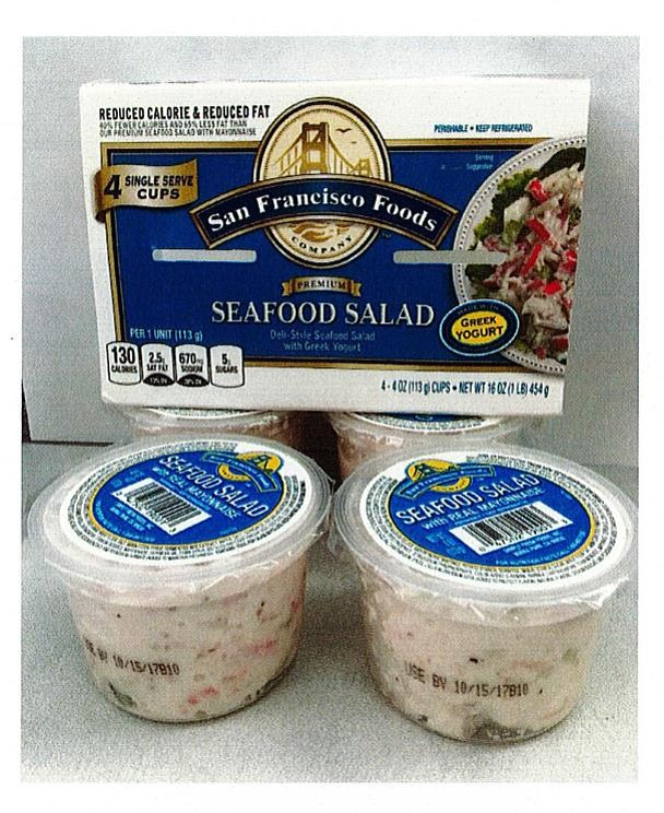 Cups of this seafood salad don't include milk on the ingredient list, even though they're made with Greek yogurt. (YCHD/Courtesy)