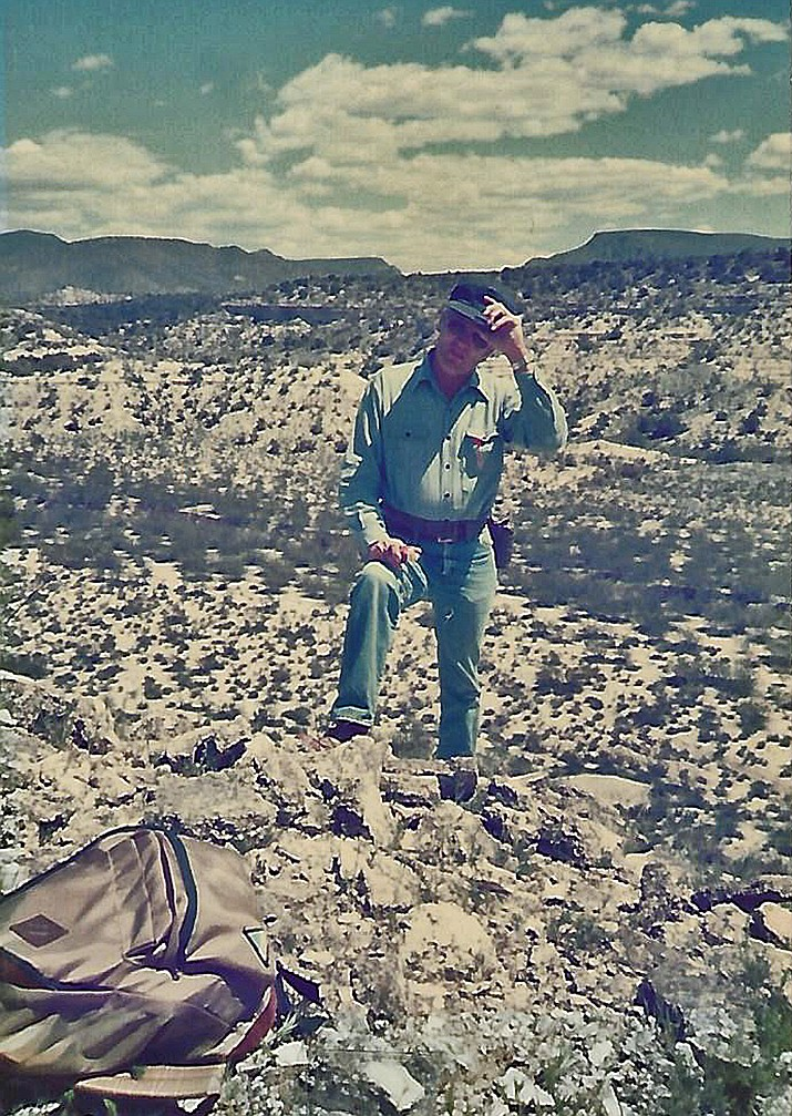 Shelby Coody during the mapping of the John Heath Ruin in Camp Verde in 1985. (Courtesy Photo)