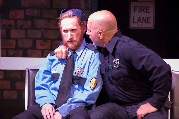 "Will Larson (left) plays security guard Jeff, who faces a moral crisis in ""Lobby Hero."" Michael Holevar (right) plays NYPD officer Bill. (Torrence Dunham/Courtesy)"