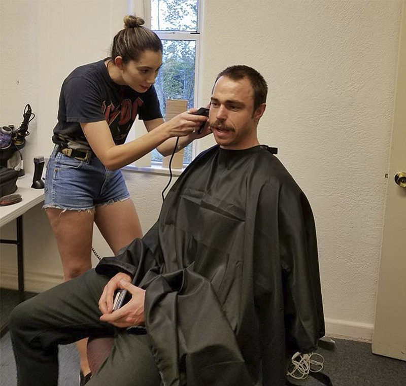 Andrew William Steel, who will be portraying Frank Shankwitz in Wish Man, gets his hair cut for production, which began this week. (Frank Shankwitz/Courtesy)