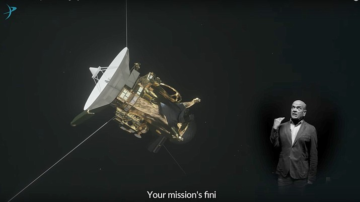 "This image shows a frame from a video posted on YouTube by The Planetary Society on Sept. 12, 2017, with actor Robert Picardo singing an operatic ode to the Cassini spacecraft. The actor from TV's old ""Star Trek: Voyager"" series says he dashed off the lyrics in about a minute, several weeks ago. (The Planetary Society via AP)"